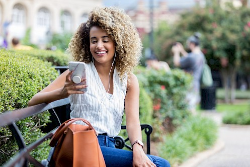 Woman using phone with pop socket